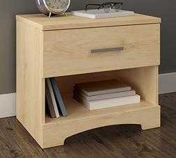 South Shore Gramercy 1-Drawer Nightstand, Natural Maple with