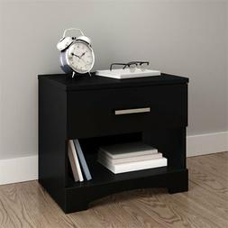 South Shore Gramercy 1-Drawer Nightstand, Pure Black with Me