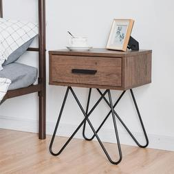 **GREAT PRICE** Modern Night Stand With Steel Legs and Drawe