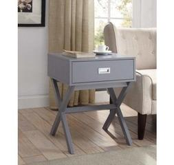 Grey Night Stand Bedroom Modern Wood End Table With 1 Drawer
