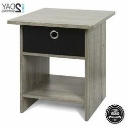 Grey Oak Wooden Night Stand Side End Table Black Fabric 1 Dr