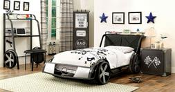 GT Racer Car Design Silver/Gun Metal Bedroom Set Youth Bed w