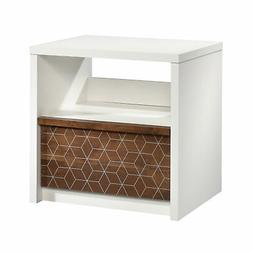 Sauder Harvey Park 1 Drawer Nightstand in Soft White and Gra