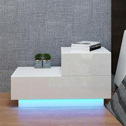 High Gloss  2 Drawers Nightstand Bedroom Bedside Table w/RGB