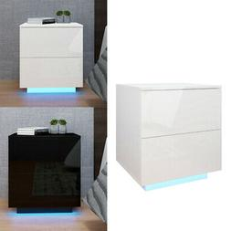 High Gloss Nightstand Modern 2 Drawers Bedside End Table Bed
