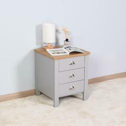 High Gloss Nightstand With LED Light Bedside End Table Bedro