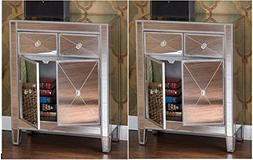 home by hamilton Set of 2 Mirrored Hollywood Glam Dresser Be