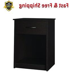 Home Core Night Stand Espresso Concealed Drawer Open Shelf B