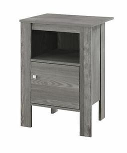 Monarch Specialties I 2138 Accent Table-Grey Night Stand wit