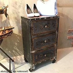 WGX Design For You Industrial 3-Drawer Chest with Casters Ni