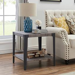 O&K Furniture Industrial Accent End Table with Storage Shelf