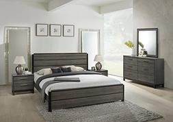 Roundhill Furniture Ioana 187 Antique Grey Finish Wood Bed R
