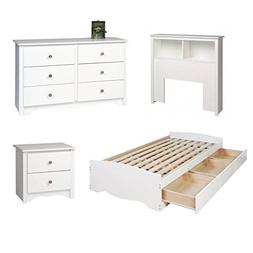 4 Piece Kids Bedroom Set with Bed, Headboard, Dresser, and N