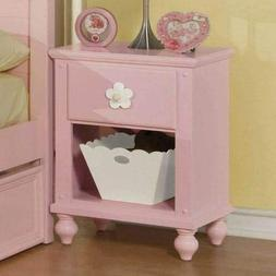Kids Nightstand Bed Side Table Storage Mini Girls Toddler Be