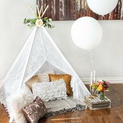 Kids Teepee Tent for Girls, Sheer Lace Indoor and Outdoor Ca