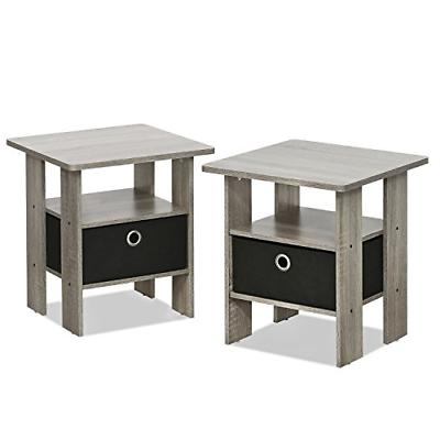 Furinno 2-11157GYW Petite Night Stand, 2 End Tables, French