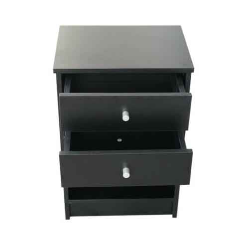Round Handle Night Stand 40 x 30 x 60cm with Two Drawer Blac