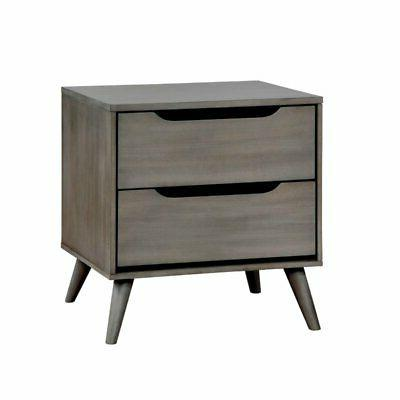 2 drawer nightstand in gray