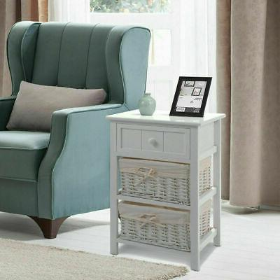 2 PCS Night Stand 3 Layer Bedside Bedroom Wood New