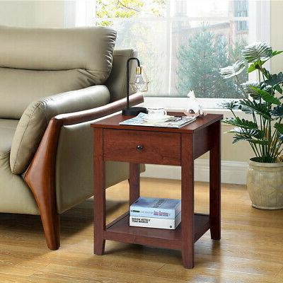 Set of Night Stand Side Bedside w/Drawer and Shelf