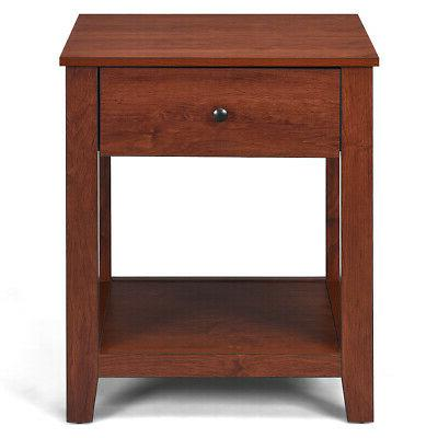 Night Stand End Bedside Accent Table & Shelf