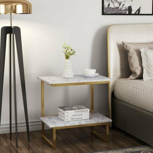 Faux Marble & Gold Metal Frame End Tables Night Stand with 2