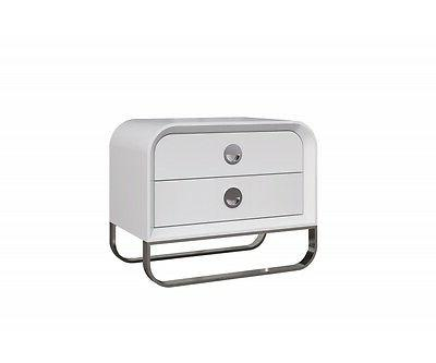 "25"" Long Medoro Night Stand High Gloss White Stainless Steel"