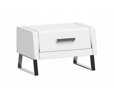 "28"" Long Francesco Night Stand High Gloss White Stainless St"