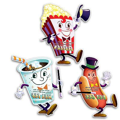 3 Movie Night Cutouts BIRTHDAY PARTY concession stand signs