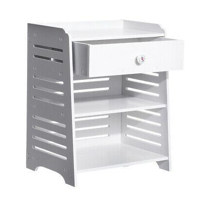 3-Layer Table Nightstand Storage with White
