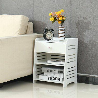 3-Layer Side Table Nightstand with Drawer White