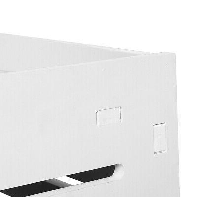 3-Layer Side Bedside Table Storage with Drawer White US
