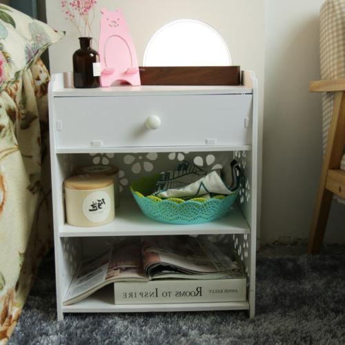 3 Layer End Bedside Table Nightstand with Drawer
