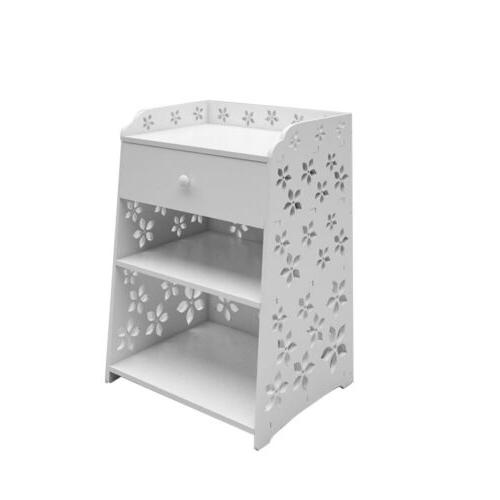 3 Layer Bedside Nightstand with Drawer Storage