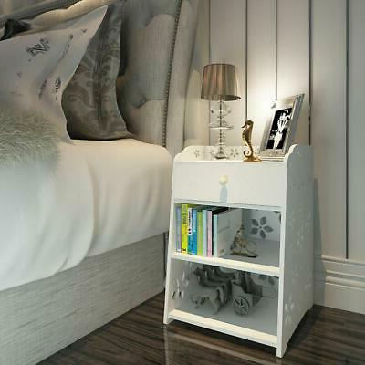 3 Stand Bedside Organizer Bedroom Nightstand White