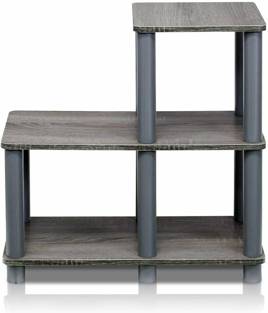 3-Tier End Side Table Night Stand with Storage Shelf Bedroom