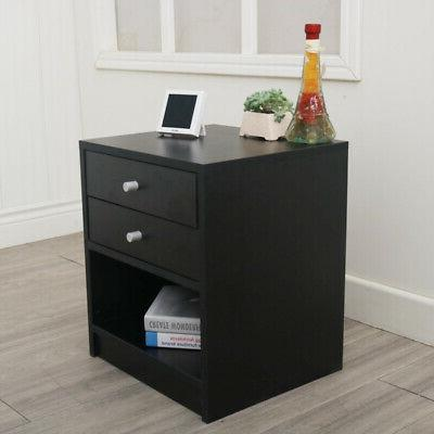 Night Stand 3 Tiers 2 Drawer Organizer Bedside End Table Hom