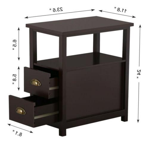 Chair Side End Table Night Snack Storage w/2 Drawers