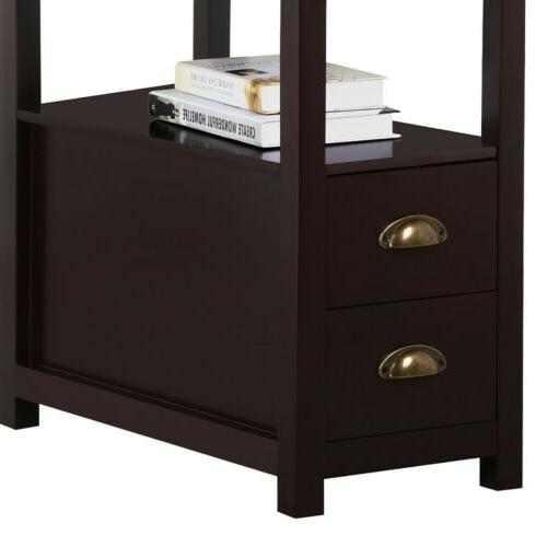 Chair End Table Snack Storage w/2 Drawers