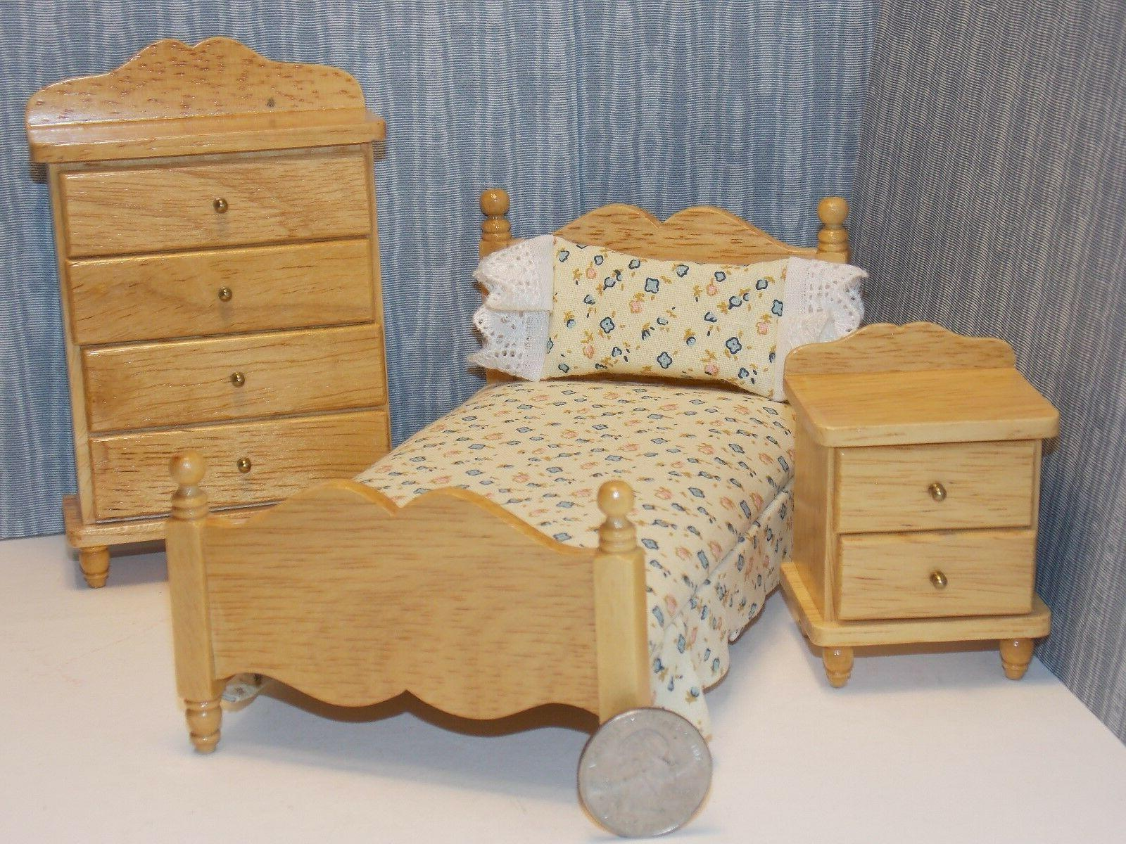 Dollhouse Miniature Oak Single Bed Night Stand & Chest 1:12