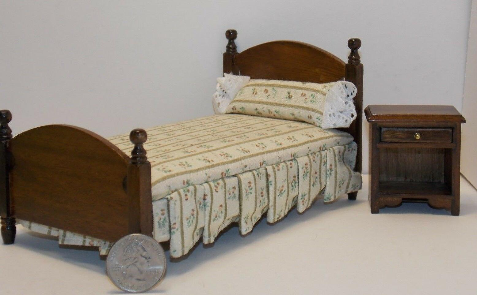 Dollhouse Miniature Walnut Single Bed & Night Stand 1:12  on