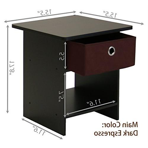 Furinno Stand Shelf with Bin Drawer, Espresso Finish