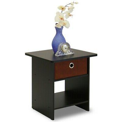 Furinno 10004EX/BR End Table/Night Stand Storage Shelf with