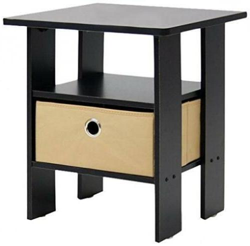 Furinno 11157EX/BR End Table Bedroom Night Stand W/Bin Drawe