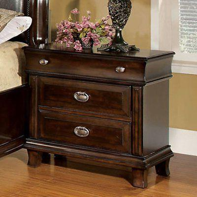 Furniture of America Sanford 2 Drawer Nightstand, Brown Cher