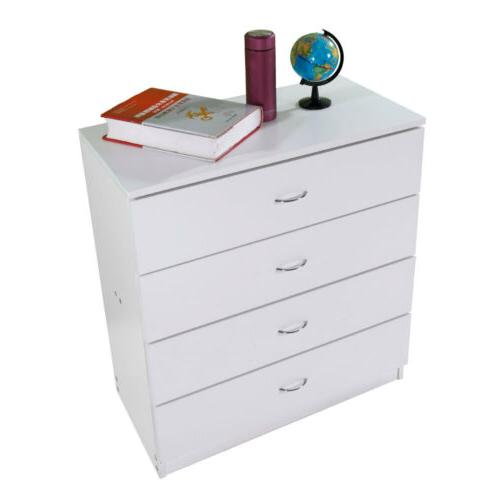 Home Bedroom 4 Drawers Night Stand Wooden Storage Organizer