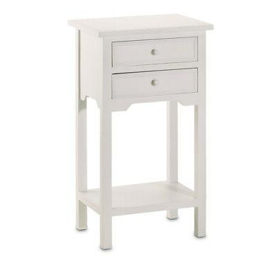 New Side Table Classic White Color Great Night Stand Furnitu