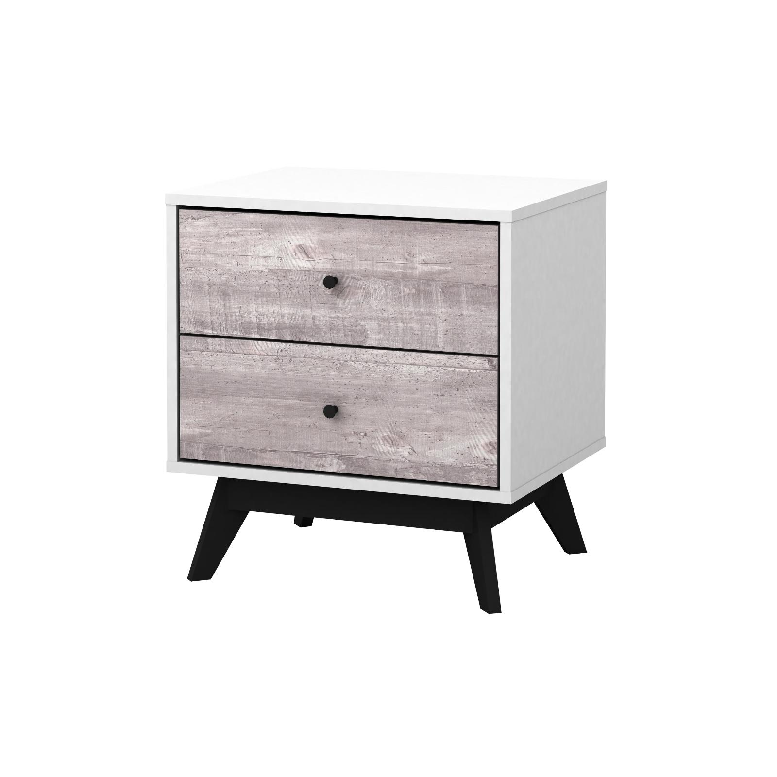 New Simple Living Cassie Mid-Century Night Stand white, gray
