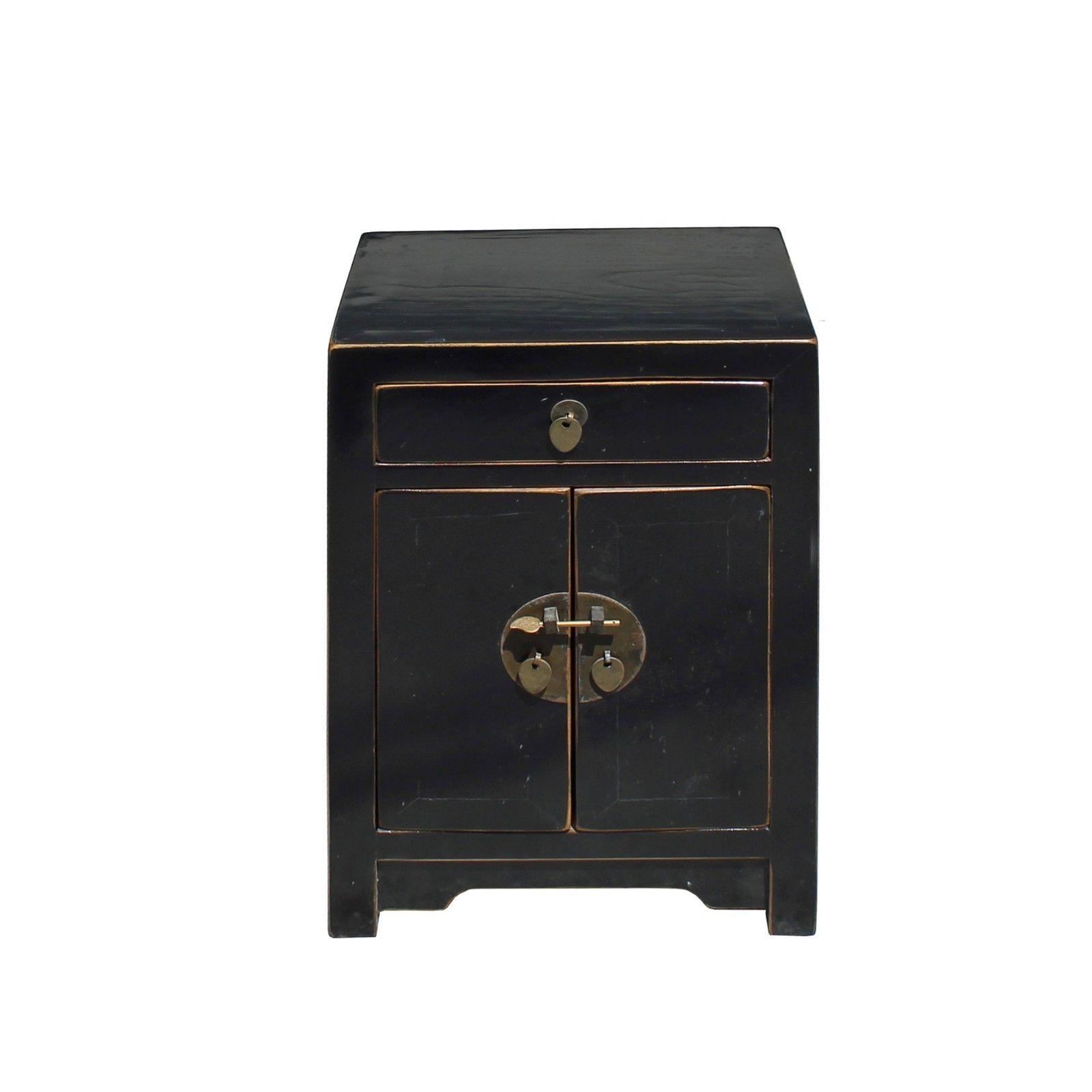 Oriental Distressed Semi Gloss Black Lacquer Side End Table