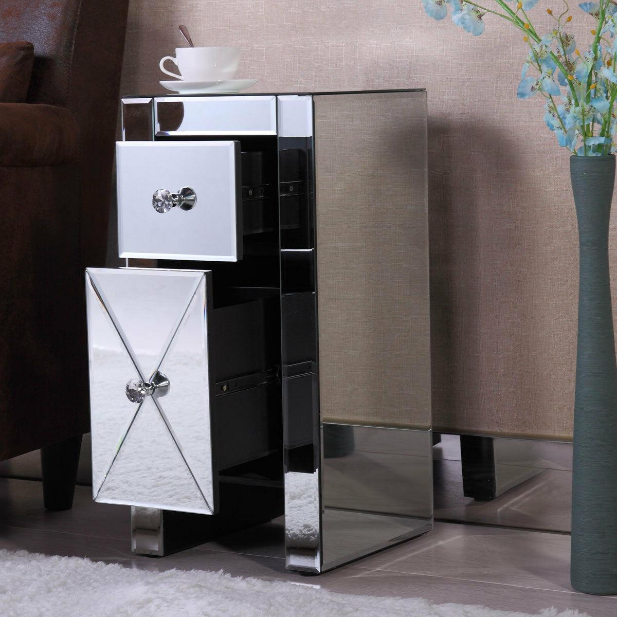 Pair Of Mirrored 3 Drawers Nightstand Bedside Table Mirrored
